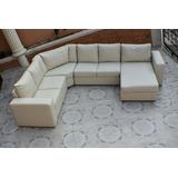 Moderno Sofa Seccional Color Crema Muy Comfortable