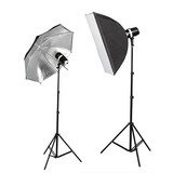 Set Flash Monolight 320w Total Sombrilla Softbox Y 2 Cabezas