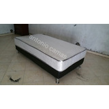 Cama Twin 39 Con Base Tapizada Color Negro