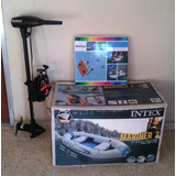 Bote Inflable Con Motor Y Base