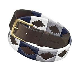 Cinturon De Cuero Pampeano Roca Polo Azul Marino Y Blanco